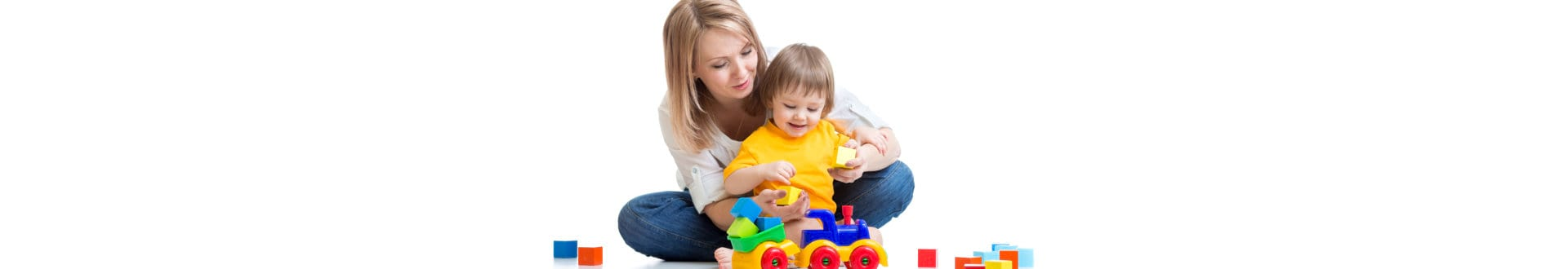woman with little child playing toys